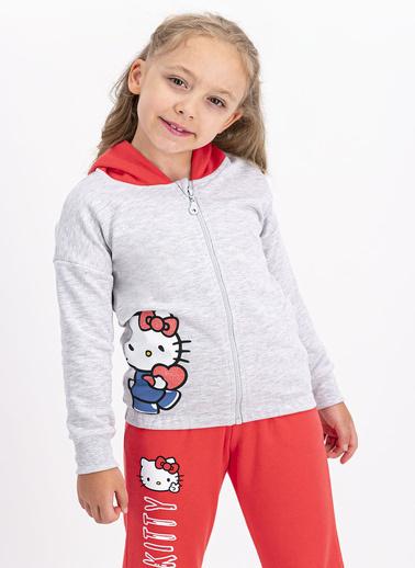 Hello Kitty Hello Kitty Lisanslı Karmelanj Kız Çocuk Kapüşonlu Eşofman Takımı Beyaz